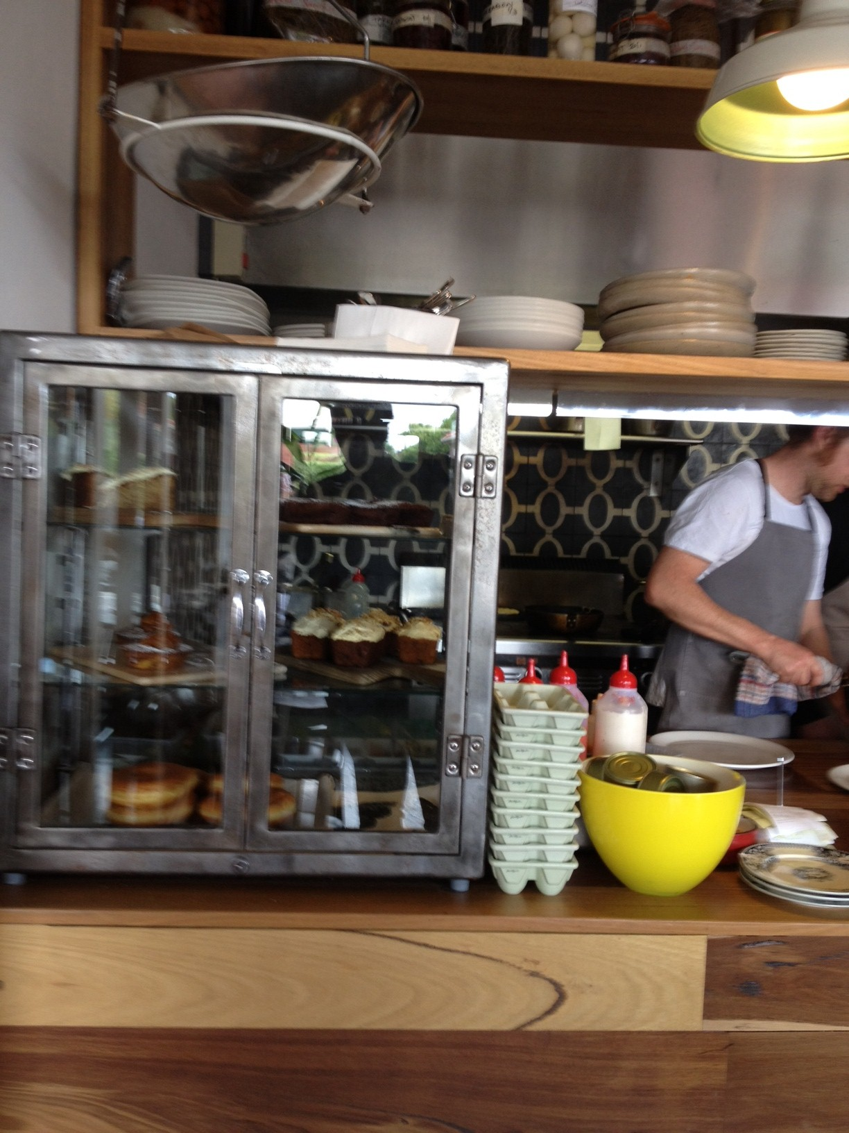 The counter when first entering Pope Joan with loads of little baked goodies on display.